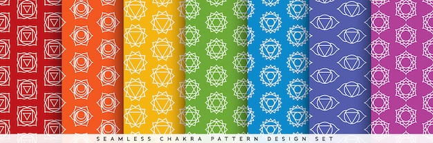 Seamless chakra pattern design set