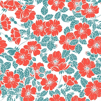 Seamless cherry blossoms red pattern