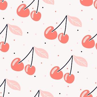 Бесшовный вишневый образец вишня в скандинавском стиле ягодный образец с точками