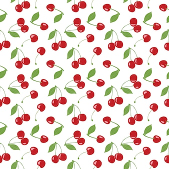 Seamless cherry pattern, red cherries and white background for scrapbooking, giftwrap, fabric and wallpaper design projects. surface pattern design.