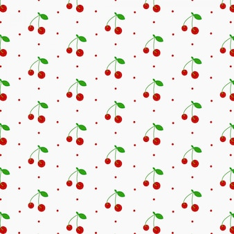 Seamless cherry pattern, red cherries and white background
