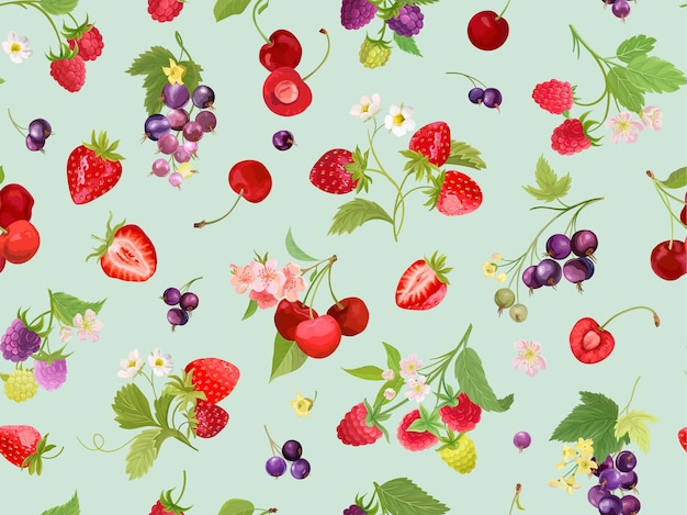 Seamless cherry, strawberry, raspberry, black currant pattern with summer berries, fruits, leaves, flowers background. vector illustration watercolor style for spring cover, texture, wrapping backdrop
