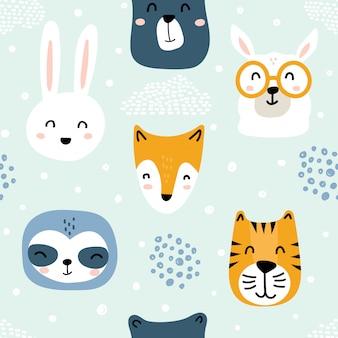 Seamless childish animal face pattern