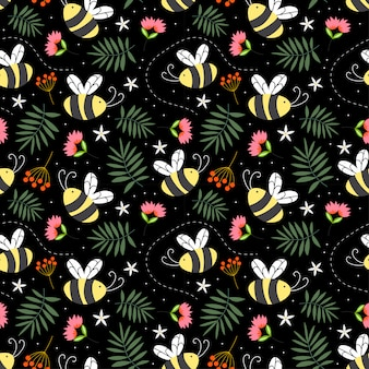 Seamless childish pattern the bees in the black backdrop