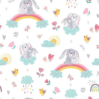 Seamless childish pattern of cute bunnies.