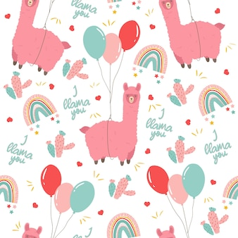 Seamless childish pattern of cute llama flying with balloons