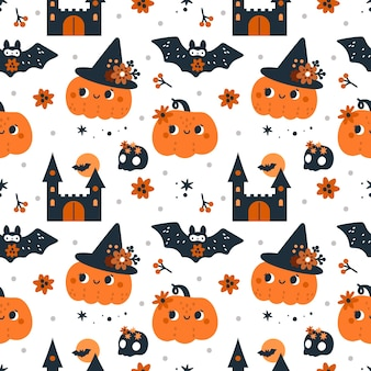 Seamless childish pattern for happy halloween with pumpkins ghosts bats and magic elements