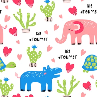 Seamless childish pattern with african animals