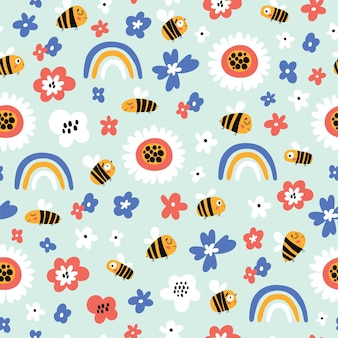 Seamless childish pattern with bee and rainbows in cartoon style perfect for wallpaper fabric