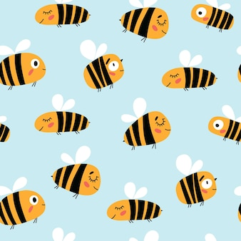 Seamless childish pattern with bees in cartoon style perfect for wallpaper fabric texture wrappin Premium Vector
