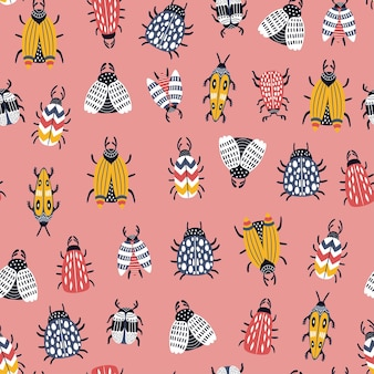 Seamless childish pattern with bugs and beetles in scandinavian style.