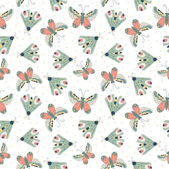Seamless childish pattern with butterflies