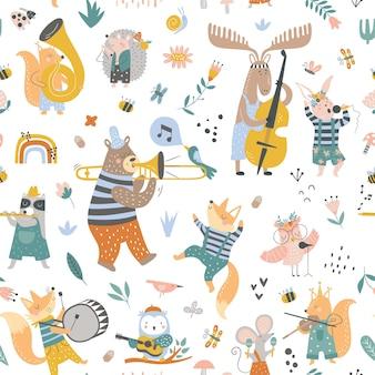 Seamless childish pattern with cartoon fox bear raccoon deer bunny squirrel mouse