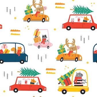 Seamless childish pattern with cartoon funny christmas animals with scarfs and gifts in cars