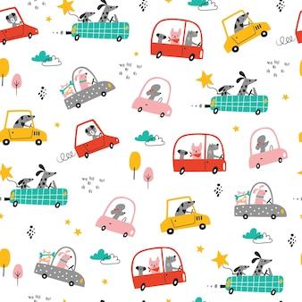 車の中で漫画の面白い犬とのシームレスな幼稚なパターン生地の創造的な子供のテクスチャ