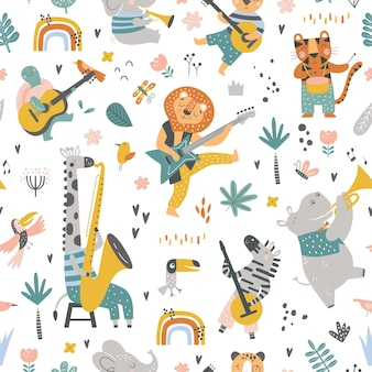 Seamless childish pattern with cartoon jungle animals playing on different instruments