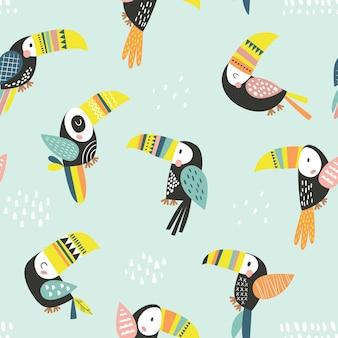 다채로운 큰부리새가 있는 매끄러운 유치한 패턴 패브릭을 위한 크리에이티브 스칸디나비아 스타일 어린이 텍스처