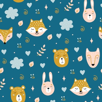 Seamless childish pattern with cute animals. bear, hare, fox, wolf.