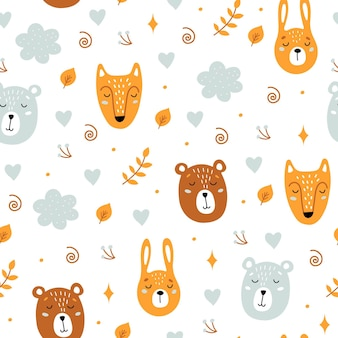 Seamless childish pattern with cute animals. bear, hare, fox.