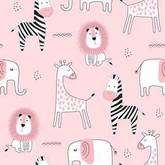 かわいい動物とのシームレスな幼稚なパターン