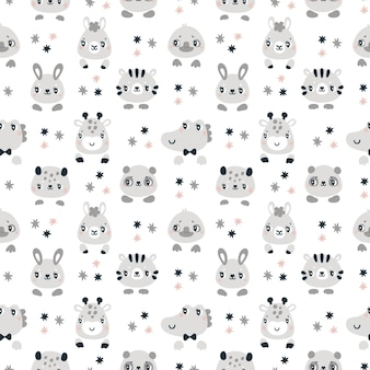 Seamless childish pattern with cute baby animals for newborn boy or girl