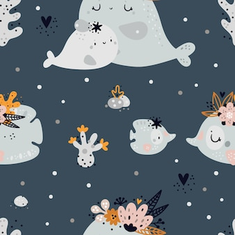 Seamless childish pattern with cute baby sea or ocean fish and whale animals. children background
