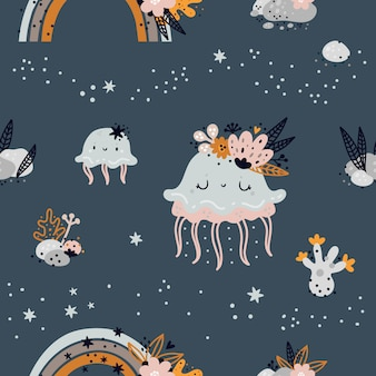 Seamless childish pattern with cute baby sea or ocean jellyfish animals. creative kids texture