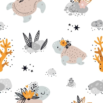 Seamless childish pattern with cute baby sea or ocean turtle animals. children background