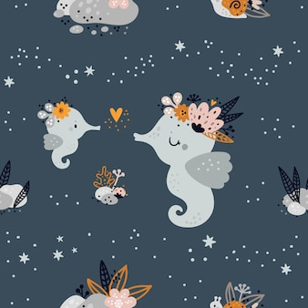 かわいい赤ちゃんの海や海の動物とのシームレスな幼稚なパターン。子供の背景