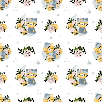 Seamless childish pattern with cute baby tiger animal and flowers for newborn boy or girl