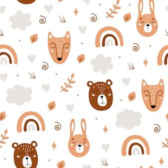귀여운 곰, 토끼, 여우와 원활한 유치 패턴