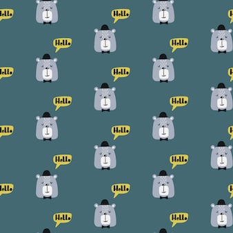 Seamless childish pattern with cute bear in a hat.