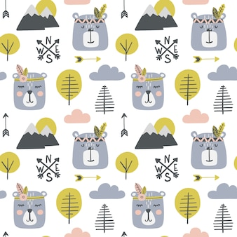 Seamless childish pattern with cute bears - indians.