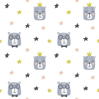 Seamless childish pattern with cute bears.