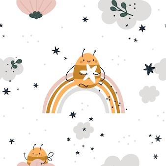 귀여운 꿀벌, 무지개, 별과 구름과 원활한 유치 패턴. 파스텔 색상의 어린이 배경