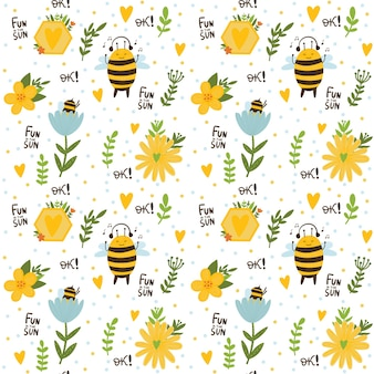 Seamless childish pattern with cute bees rainbow stars and clouds children background in pastel c
