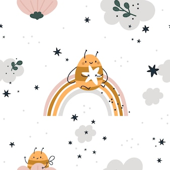 Seamless childish pattern with cute bees, rainbow, stars and clouds. children background in pastel colors