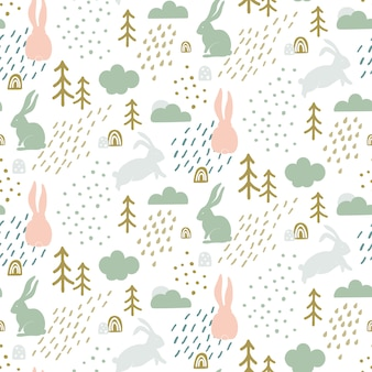 Seamless childish pattern with cute bunny silhouette.
