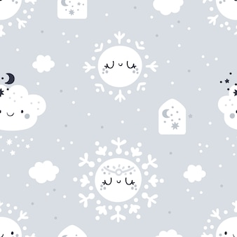 Seamless childish pattern with cute cartoon snowflakes, clouds pastel.