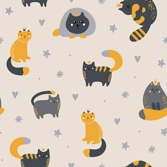 Seamless childish pattern with cute cats