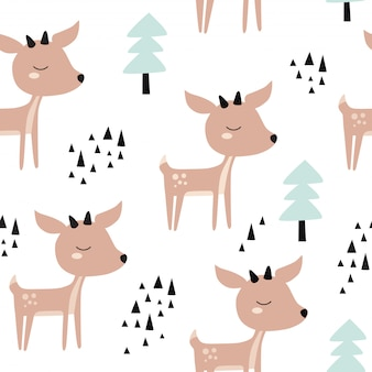 Seamless childish pattern with cute deer in the wood.