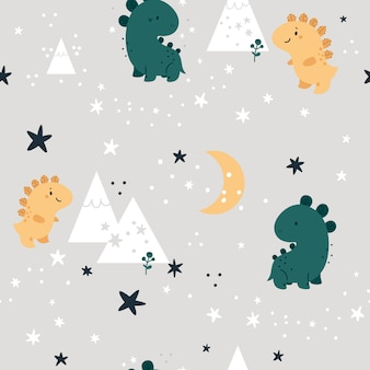 Seamless childish pattern with cute dinosaurs in forest. children background