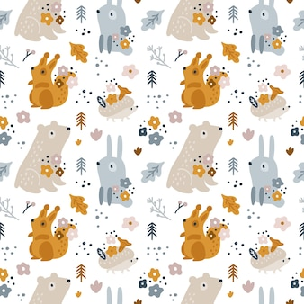 Seamless childish pattern with cute forest animals for newborn boy or girl