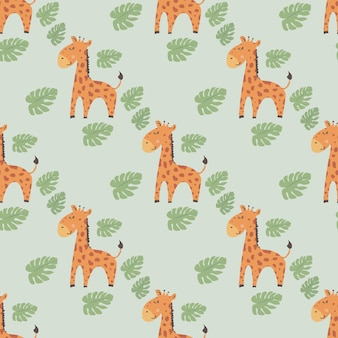 Seamless childish pattern with cute giraffe creative kids texture for fabric wrapping textile
