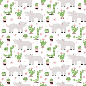 Seamless childish pattern with cute hippo