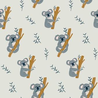 Seamless childish pattern with cute koala bear.
