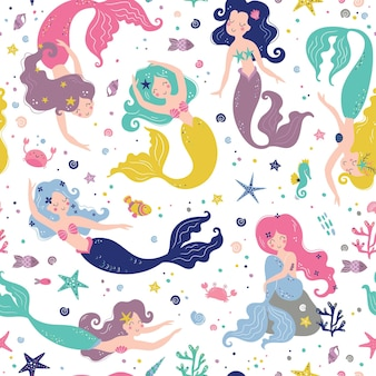 Seamless childish pattern with cute mermaids creative kids texture for fabric wrapping textile wallpaper apparel  illustration