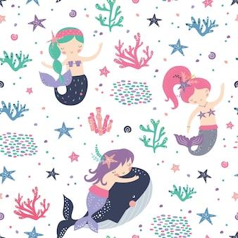 Бесшовный детский образец с милыми русалками.