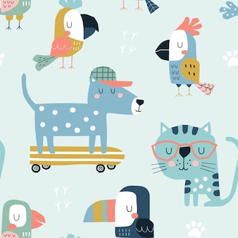 Seamless childish pattern with cute parrots, toucans, cat and dog.