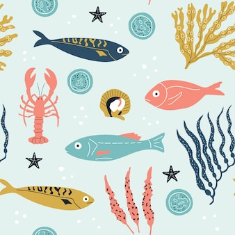 Seamless childish pattern with cute sea fishes, lobster and seaweed.